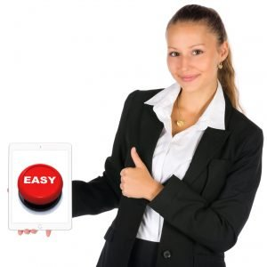 Photograph of attractive woman holding Ipad with picture of an Easy Button. Our clients love how we make legal name changes easy.